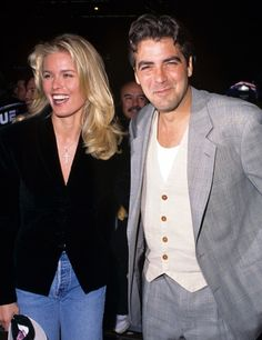 George Clooney with his girlfriend, Swedish model Vendela Kirsebom- circa 1996