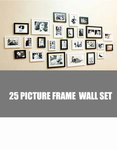 modern 25 photo picture wood frame set - Wood Picture Frame Set