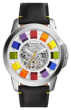 Fossil 'Grant' Automatic Leather Strap Watch, 44mm available at #Nordstrom