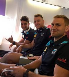 Chad, Robbie and Kane on flight to Perth for Rnd 1, April 2015