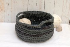 Fabric Crochet Basket with Handles  Large Grey Basket  by OdPaAm