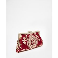 Chi Chi Brocade Clip Top Clutch Bag in Red & Gold ($52) ❤ liked on Polyvore featuring bags, handbags, clutches, kiss clasp purse, brocade purse, chain purse, rose gold clutches and rose gold handbag