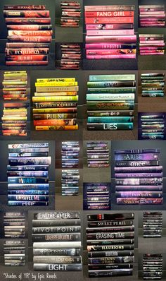 "harpercollinschildrens:    Some of our teen books organized by color! How do you organize your books?  epicreads:    ""Shades of YA"" by Epic Reads! View the larger image on our blog!"