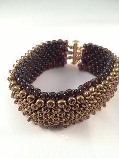 Industrial Style Flat Embellished Peyote Bangle Bracelet, Bronze And Brown Glass Miyuki Beads on Etsy, £18.00