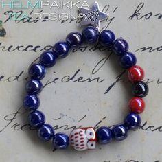 Sininen tiilenpunapöllö rannekoru 15€ #owl #bracelet #armcandy #pöllö #pöllökorut