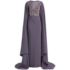 Georges Hobeika Embroidered Cape Dress (293,905 INR) ❤ liked on Polyvore featuring dresses, gowns, gown, grey, grey dress, cocktail gown, cocktail dresses, gray cocktail dress and grey gown