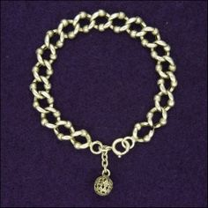 French Antique Silver Open Link Bracet - Floral Ball Charm
