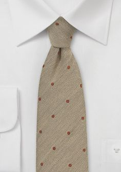 Krawatte Wolle Punkte sandfarben