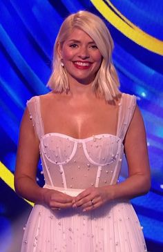 Dancing on Ice fans joke Holly Willoughby has 'forgot her top' as she wears racy lingerie-style dress Blush Lingerie, Lingerie Dress, Luxury Lingerie, Fashion Themes, Fashion Dresses, Holly Willoughby Legs, British Celebrities, Fearne Cotton, Tv Girls