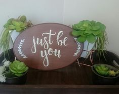 FineDesignbyOla on Etsy Just Be You, Hand Painted Signs, Planter Pots, Etsy Seller, Create, Unique, Painting, Painting Art, Be You