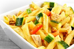 Roast chicken, peppers, squash and onions create this savory vegetable-rich dish. Garlic adds to the fragrance of the dish as it simmers, serve over penne for a healthy balanced meal. Penne Pasta Salads, Chicken Pasta, Veggie Pasta, Chicken Salad, Pasta Dishes, Roasted Vegetables With Chicken, Roasted Chicken, Vegetable Primavera, Acid Reflux Recipes