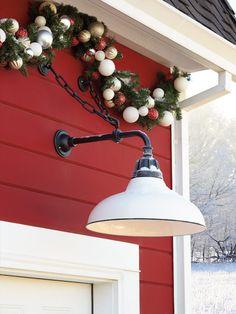 Rejuvenation Lighting - Industrial Garage Light and Christmas Garland Garage Lighting, Barn Lighting, Farmhouse Lighting, Exterior Lighting, Outdoor Lighting, Farmhouse Style Decorating, Farmhouse Chic, Farmhouse Ideas, Holiday Mood