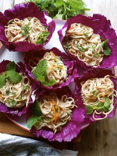 Cabbage Bowls with Raw Veggie Noodles  Almond Ginger Sauce | In Pursuit of More