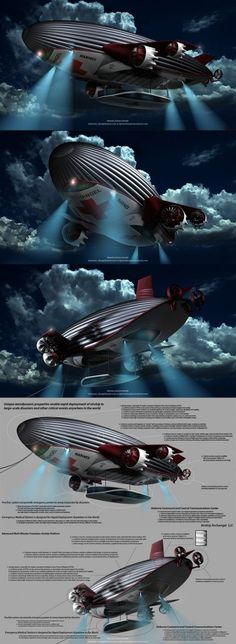 A concept for modern airship. It would be sweet to take a trip on this airship!