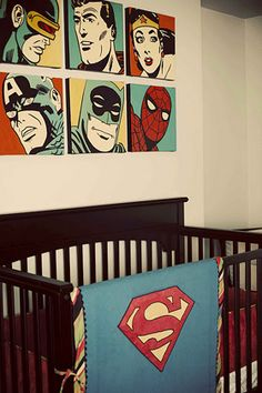 Retro Superhero nursery ... I do not want another baby; but could I do this in my master bedroom?  The quilt would need to be reversible though; Superman on one side, Batman on the other!