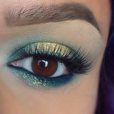 Gold and teal makeup look ...so pretty!