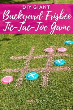 , Get ready for awesome summer-time fun with the kids. Try taking a classic game o. , Get ready for awesome summer-time fun with the kids. Try taking a classic game outside in a big way with this DIY giant backyard frisbee tic-tac-toe g. Outdoor Summer Activities, Fun Outdoor Games, Outdoor Fun For Kids, Backyard For Kids, Outdoor Camping, Indoor Activities, Indoor Games, Kids Camp Activities, Outdoor Games For Toddlers