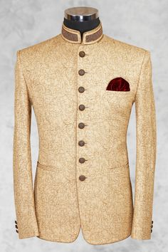 Cream Fawn Prince Suit Shameel Khan is part of Wedding dress men - Cream fawn prince suit with brown texture and classy buttons on front will give you more elegant look was last modified June 2018 by khurram Nigerian Men Fashion, Indian Men Fashion, Mens Fashion Suits, African Fashion, Wedding Dresses Men Indian, Wedding Dress Men, Wedding Suits, Prince Suit, Blazer Outfits Men