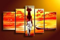 Abstract Art, African Girl Painting, Sunset Art, Extra Large Wall Art, – Silvia Home Craft Buy Paintings Online, Canvas Paintings For Sale, Online Painting, Oil Paintings, Cheap Paintings, African Paintings, African Art, African Women, African Style