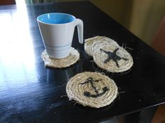 #Rope #Nautical Check out this item in my Etsy shop https://www.etsy.com/listing/273083882/nautical-rope-coasters-set-of-4
