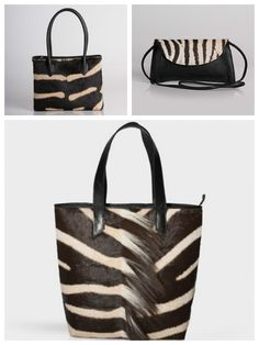 Variety of Zebra Handbags at David Appel Furs Beverly Hills