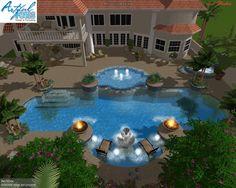 Classic elegant pool design 40 39 x60 pool screen enclosure for Virtual pool design