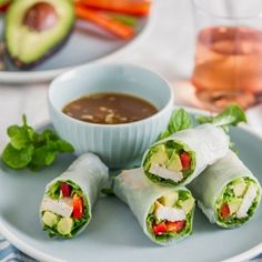 21 Ways To Eat An Avocado This Summer. Chicken Avocado Spring Rolls Hoisin nut dipping sauce makes these spring rolls irresistible! Get the recipe from Chicken Recipe Box Healthy Snacks, Healthy Eating, Healthy Recipes, Healthy Rolls, Healthy Menu, Clean Eating, Paninis, Chicken Spring Rolls, Summer Chicken