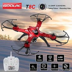 ﹩46.19. Original GOOLRC T8C 2.4GHz 4CH Gyro 2.0MP HD Camera RC Quadcopter Drone M3J1    Required Assembly - Ready to Go/RTR/RTF (All included), ISBN - Does not apply, Year - 2016, Color - Red, Product - T8C RC Quadcopter, Fuel Type - Electric, Material - ABS, Colour - Red, UPC - 713893218604