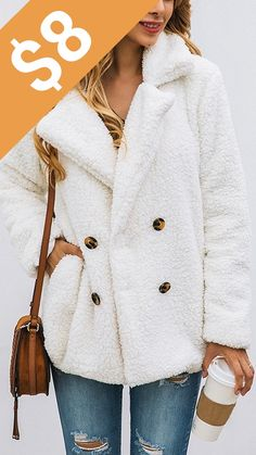 PRETTYGARDEN Women's Fashion Long Sleeve Lapel Zip Up Faux Shearling Shaggy Oversized Coat Jacket with Pockets Warm Winter at Women's Coats Shop Christmas Clothes. Soft fleece, skin-friendly, keep you warm in the chilly winter. Mode Outfits, Stylish Outfits, Fall Outfits, Fashion Outfits, Women's Fashion, Fashion Coat, Latest Fashion, Fashion Women, Fashion Shoes