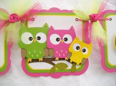 Owl family baby shower banner its a girl by NancysBannerBoutique, $35.00