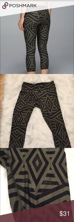 Lululemon green black chevron pattern leggings These leggings are in good shape except for the fading in places throughout. Took pictures of some of the areas. Price reflects condition. lululemon athletica Pants Leggings