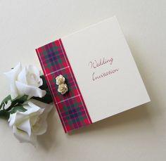 Fraser Tartan Rose wedding invitation