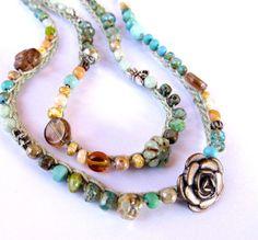 Crochet wrap bracelet beaded boho necklace cascade by CoffyCrochet, $37.50