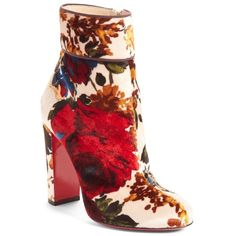 Women's Christian Louboutin Moulamax Floral Velvet Bootie ($1,095) ❤ liked on Polyvore featuring shoes, boots, ankle booties, nude floral velvet, red ankle boots, red booties, red bootie, christian louboutin boots and red velvet boots