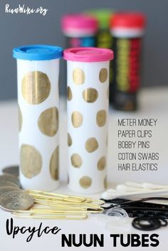 Easy DIY craft Upcylce with @Nuun_hydration tubes - store coins, bobby pins, cotton swabs, and more. Running | Half Marathon | Tips | fitness
