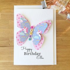 Childrens Birthday Card - Girls Birthday Card - Personalised Card for Her - Childrens Butterfly Card - Childrens 3D Card - Kids Birthday https://www.etsy.com/uk/listing/570888568/childrens-birthday-card-girls-birthday