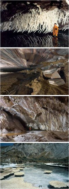 Namakdan 3N Cave on Qeshm Island, with a length of more than 6,000 meters and height of 237 meters, is considered the largest salt cave worldwide. Is located a few kilometers off the southern coast of Iran (Persian Gulf), opposite the port cities of Bandar Abbas.