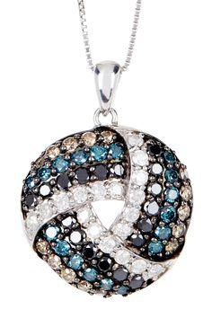 Two-Tone Multicolor Diamond Love Knot Pendant Necklace - 2.00 ctw on HauteLook