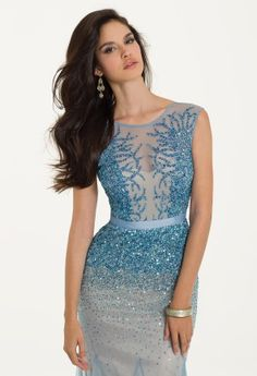 Two Tone Beaded Mesh with Godets from Camille La Vie and Group USA