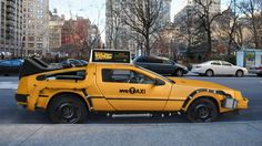 "Delorean Taxi, great advertising for the 25th anniversary of ""Back to the future"""
