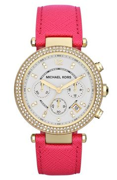 I cannot get this Michael Kors watch out of my head.  LOVE the pink leather band, the gold, and the bling.  PERFECT spring and summer watch.  It makes me happy!!!!!