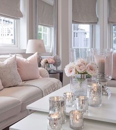 37 Cute Pink Living Room Design Ideas Disclaimer, I have no real proof that a lady would love this room I'm about to share with you, and […] Cozy Living Rooms, Living Room Grey, Home Living Room, Apartment Living, Interior Design Living Room, Living Room Designs, Silver Living Room, Romantic Living Room, Living Room Decor Ideas Grey