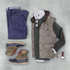 the latest trends in mens fashion and mens clothing styles Vest Outfits, Fashion Outfits, Fashion Clothes, Men Clothes, Outfit Grid, My Outfit, Mens Outdoor Fashion, Trendy Fashion, Mens Fashion
