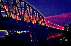 Bridge Over the Mississippi at Hannibal MO #2. HDR lomo. Nikon d 3200 f3 ISO 1600