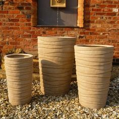 Garden Feature Co Set Of 3 Tall Round Fibre Clay Planters - 30631