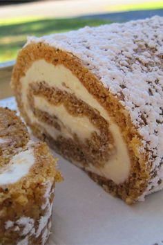 This pumpkin roll with cream cheese filling is a quick and easy pumpkin roll recipe! Bake the best pumpkin dessert using pumpkin puree, walnuts, cream cheese, and cinnamon. You will love baking this pumpkin roll for a fall dessert or Thanksgiving dessert!