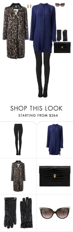 """Slimming Look: dark blue dress"" by stylev ❤ liked on Polyvore featuring Tamara Mellon, McQ by Alexander McQueen, Burberry, Alexander McQueen, Gucci, Bulgari and Aurélie Bidermann"