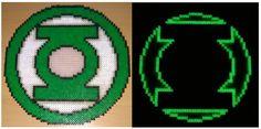 Green Lantern glowing logo perler beads by Szilvi