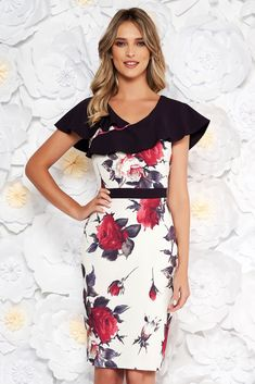 """Purple elegant pencil dress from elastic fabric with floral prints frilly trim around cleavage line, tented cut, """"V"""" cleavage, without clothing, sleeveless, floral prints, elastic fabric, zipper fastening, frilly trim around cleavage line"""