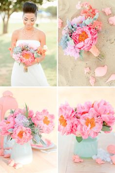 Wedding flowers pink peonies and frosty mint green succulents